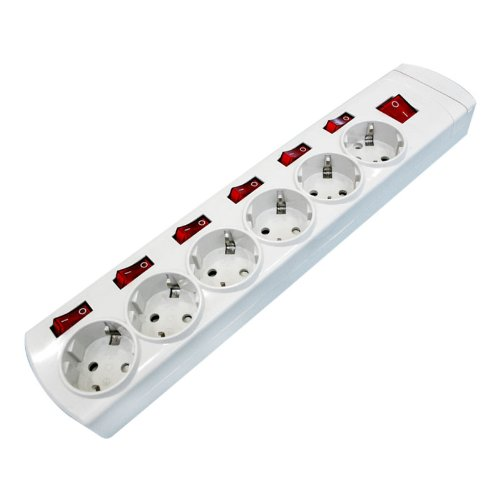 ElectroDH - 36.189 Regleta 6 Tomas con Interruptores Independientes