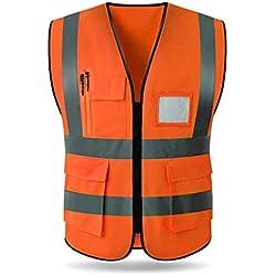 iBàste Gilet réfléchissant Gilet Fluorescent Multi-Poche trafic vêtements de Protection de la sécurité extérieure Nuit d'équitation en Cours d'exécution Haute visibilité Veste Gilet de sécurité
