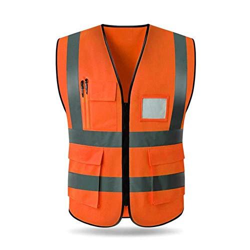 Leap-G Warnweste Sicherheitswesten Reflektorweste Sicherheit-Warnweste Weste mit Reißverschluss Universalgröße Hohe Sichtbarkeit, leicht, verstellbar und Elastic Outdoor 5 Farben L XL 2XL (Mit Reißverschluss 5 Taschen)