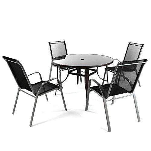Nexos 5er Set Sitzgruppe mit Glastisch 120x120 cm 4X Stapelstuhl Gartengarnitur Gartenmöbel...