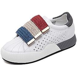 Pump Snekers 4cm Elevator Schuhe Thick White Schuhe Casual Sport Schuhe Frauen Mode Hollow Farbe Match Klett Teller Schuhe Eu Größe 34- 40 ( Color : Gray , Size : 38 )