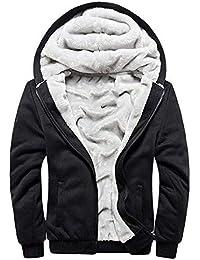 4777837a512c LiGG Herren Kapuzenpullover mit Reißverschluss Langarm Kapuzenjacke Winter  Warm Fleece-Innenseite Sweatshirt Plus Dicke Fleecejacke…