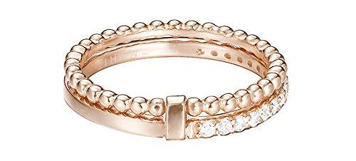 ESPRIT Damen-Stapelring JW52892 ROSE 925 Silber teilvergoldet Zirkonia transparent