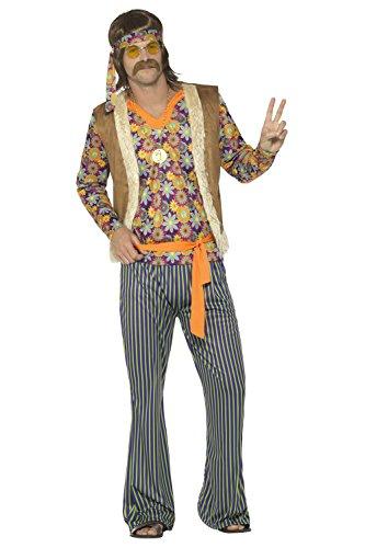 Smiffys, Herren 60er Jahre Sänger Kostüm, Oberteil, Weste, Hose, Gürtel und Kopfband, Größe: S, (60 Kostüme Fancy S Herren Dress)