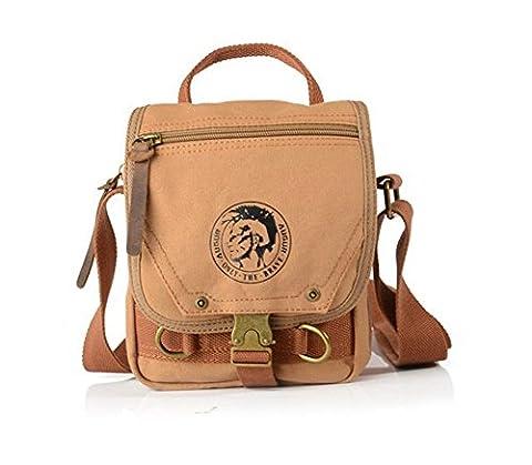 Sechunk Sac de travail en coton Small Leather Canvas Messenger Bag Shoulder Bag Crossbody Satchel Voyage Duffle Bag Sac de sport