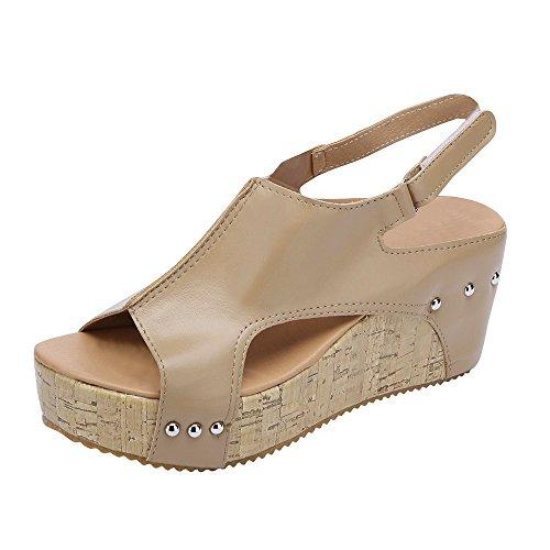 YEARNLY Damen Sandalen Keilabsatz Sommerschuhe Plateau Wedge Schuhe Knöchel Schnalle Peep Toe Elegant High Heels Schwarzes Brown Khaki Gr.35-43