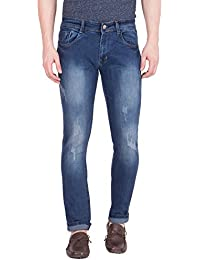 Flying Port Slim Fit Blue Stretchable Jeans For Men