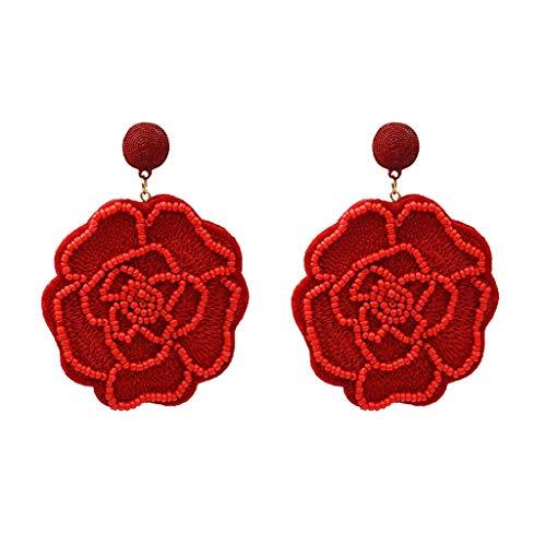 SoundJA Ohrring, Ohrgehänge Weinlesereis Bördelt Geometrische Mehrfarben Blumenbeschaffenheit Ohrstecker Einfach Elegant Ohrhänger Leicht Nicht Leicht Allergisch zu Sein (Rot)