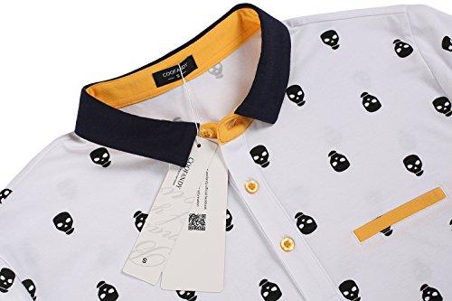 Aulei Herren Poloshirt slim fit Casual T-Shirt Kurzarm Hemd Freizeit Weiß