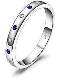 JewelryPalace Klassische 0.23ct Synthetisch Saphir Versprechen Band Ring 925 Sterling Silber