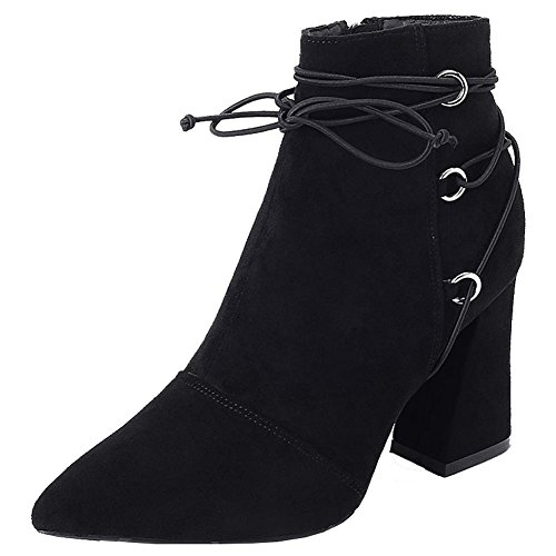 Botas Cortas De Cuero De Mujer Zapatos Gruesos Tacones Altos Cordones De Tobillo Cálidos Zapatos Con Cremallera, Brown-35 Black-36