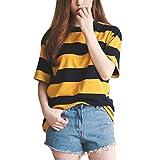 SPI Donna T-Shirt a Righe Gialle e Nere Collo Tondo Allentato T-Shirt Mezza Manica Top Casual e Abbigliamento, Oro, L