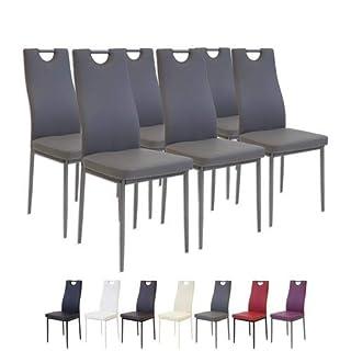 Albatros 2916 SALERNO Lot de 6 chaises, gris