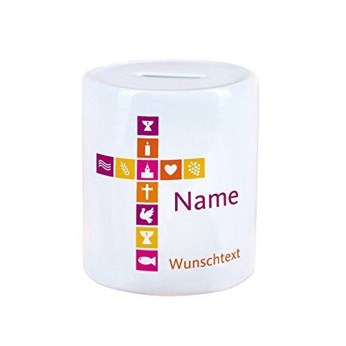 Herz & Heim® Spardose für Taufe/Kommunion/Taufe mit Namen und Wunschtext für Mädchen