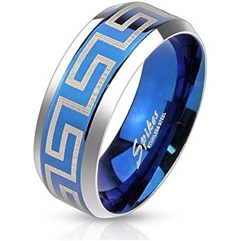 Paula & Fritz® Anillo de acero inoxidable acero quirúrgico 316L 6o 8mm de ancho de banda azul con lasergraviertem Laberinto Patrón disponibles Ring tamaños 47(15)–69(22) R de