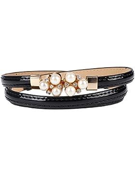 Damara Mujeres Cinturón Con Hebilla De Perla Correa De Cintura Delgada