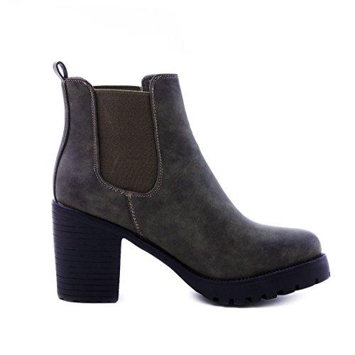 Tornozelo paris Salto Alta Bloco Boots Elegantes Com Verde Senhoras De Couro Óptica Na Botina Ankle Qualidade IZUawgxn