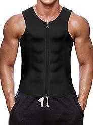 Men Waist Trainer Vest Hot Neoprene Sauna Suit Corset Body Shaper Zipper Tank Sweat Top Workout Shirt