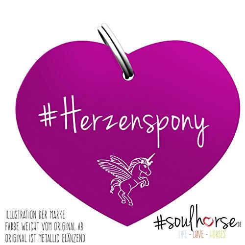 Soulhorse Herzenspony lila Kleiner Glücksbringer Marke Anhänger für Pferdezubehör Halfter Trense Zaumzeug Sattel Vorderzeug