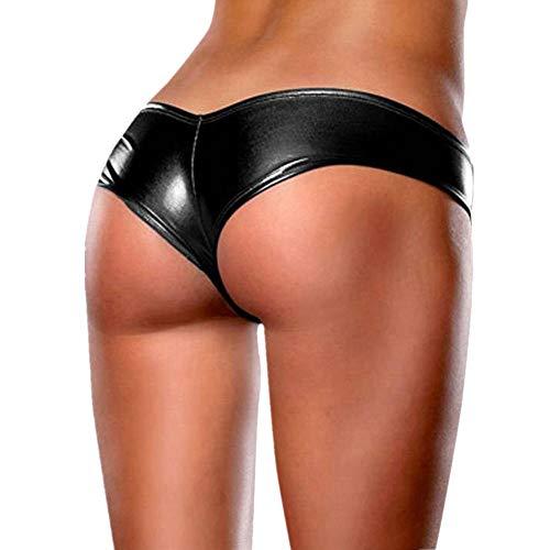 HARRYSTORE Bloß Nachahmung Leder Bikini Thongs Frau Kreativ Entwurf Unterhose Unterwäsche (Schwarz)