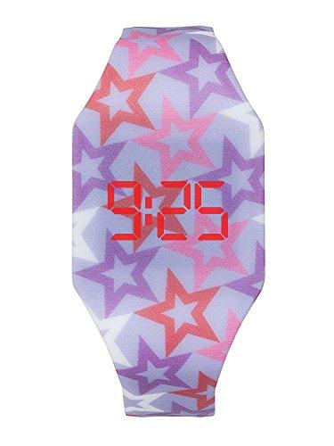 Reloj LED Digital chica, infantil y joven, de pulsera, correa de suave silicona, trendy regalo, Estrellas, Kiddus KI10213