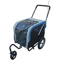 Cochecito y remolque de bicicleta para perros con rueda giratoria y transportadora para gatos, para mascotas de tamaño pequeño y mediano de hasta 25kg; 2en1