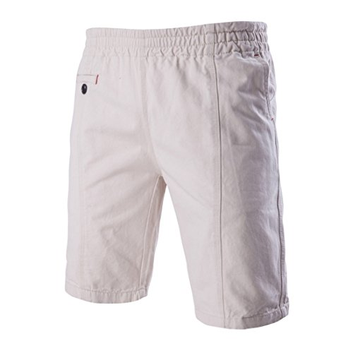 Men's Personality Pocket Design Tide Casual Shorts Rice White