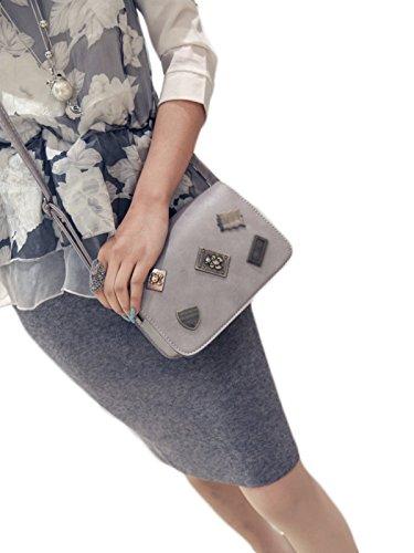 KYFW-Frauen-Retro- Abzeichen-kleine Quadratische Paket-Öl-Haut Einfache Einfache Farben-Schulter-diagonale Kreuz-Schöpflöffel-Beutel F