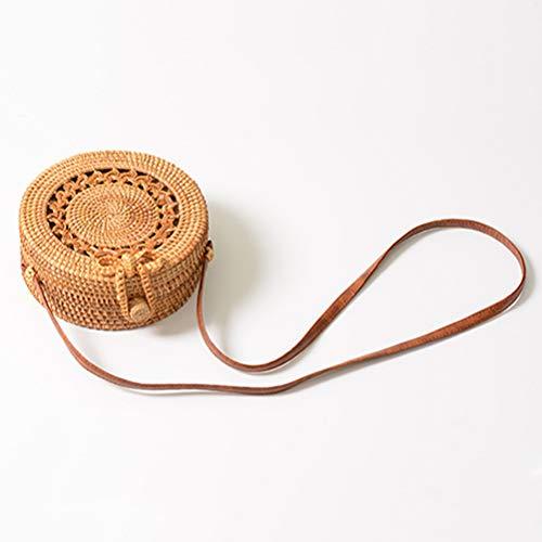 ZIHUINI Paket Rattan Taschen Strand Stroh handgemachte Tasche gestrickt Crossbody Kreis Umhängetaschen Bowknot gewebt -