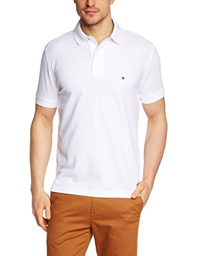 Tommy Hilfiger Herren Poloshirt 50/2 PERFORMANCE POLO S/S RF, Einfarbig, Gr. Large, Weiß (CLASSIC WHITE 100) (Lg Performance Polo)