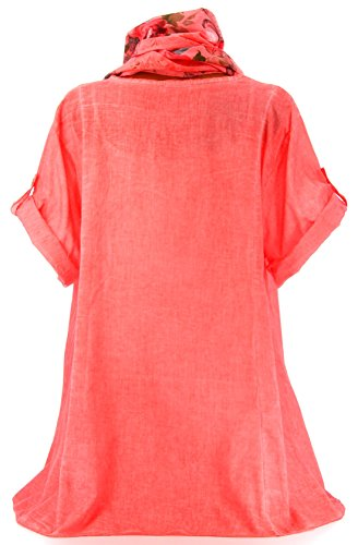 Charleselie94® - Tunique chemise bohème grande taille corail MARINELA CORAIL Corail