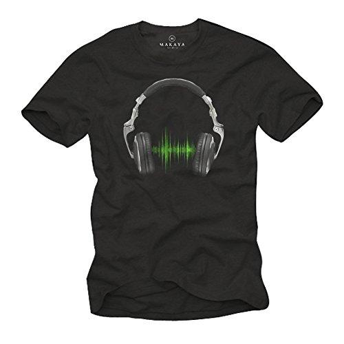 Cooles Musik T-Shirt mit Kopfhörer ELECTRO HOUSE schwarz Herren Größe M