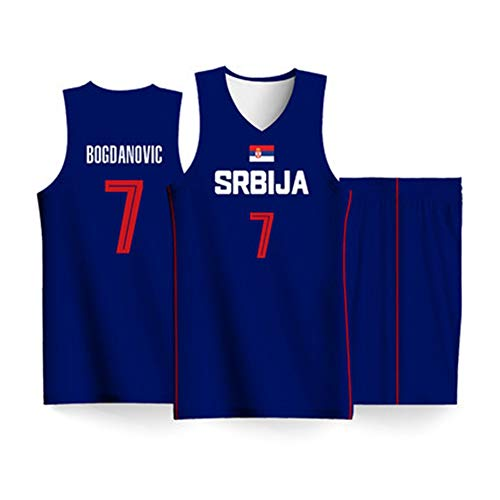 HS-XP Bogdan Bogdanovic # 7 Serbische Mannschaftsbasketballtrikots, Basketball-Swingman-Trikot, zweiteiliges Trägershirt-Set, Basketball-Weltmeisterschaft 2019,XL(180~185) cm