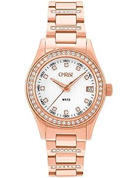 CHRIST times Damen-Armbanduhr Analog Quarz One Size, perlmutt, rosé