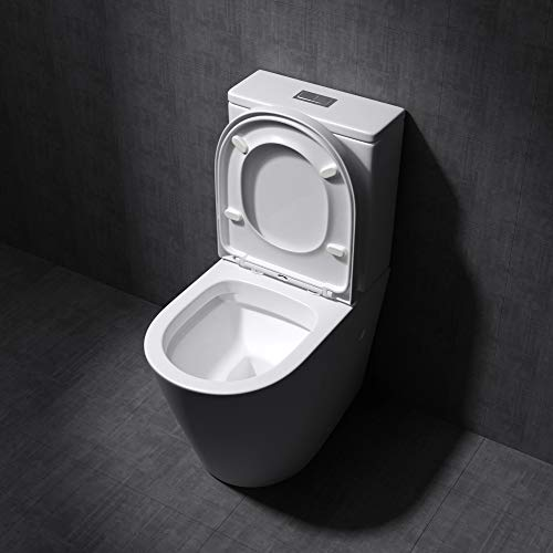 Durovin Bathrooms Close Coupled Two Piece Ceramic Toilet | Open Flush Rim | Include Back to Wall WC Pan with Cistern and Soft Close Seat