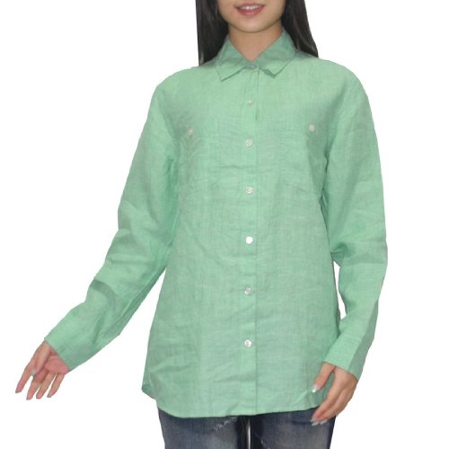 tommy-bahama-womens-button-down-long-sleeve-linen-shirt-blouse-small-green
