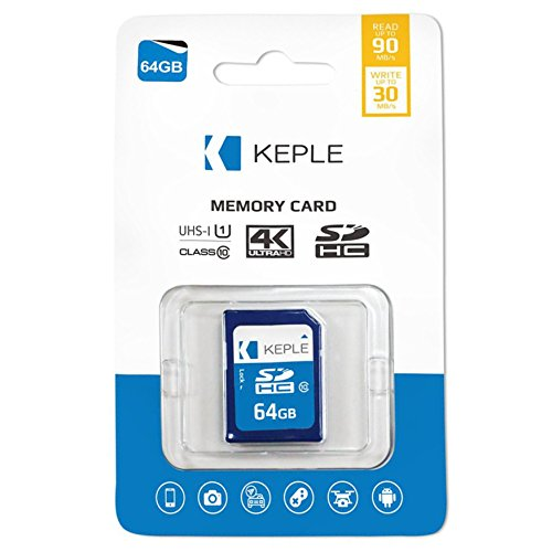 Keple scheda di memoria sd da 64 gb scheda sd ad alta velocità per nikon d5300, d5600, d7500, d850, d3100, d3400 dslr digital cameras | 64gb storage class sdcard 10 uhs-1 u1 sdxc card for hd