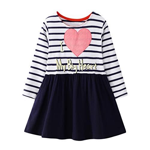 Tensay Kleinkind Kinder Baby Mädchen Casual Streifen Brief Herz Prinzessin Kleid Kleidung Patchwork Outfits Anzug für Herbst und Frühling -
