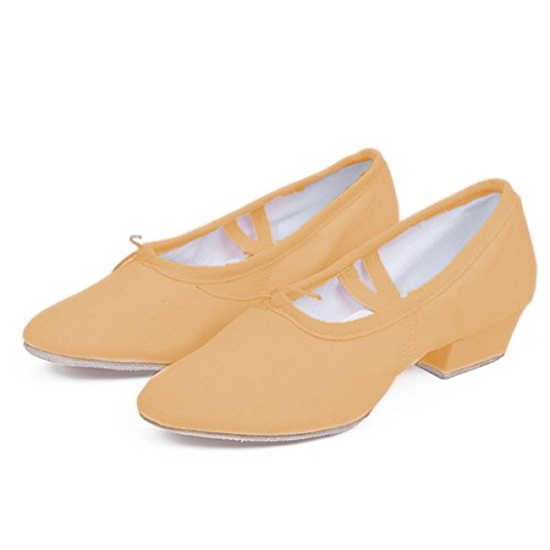 Wxmddn Scarpe da ballo Danza Canvas balli Soft suole balletto scarpe Cammello