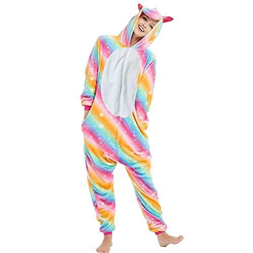 Pijama Unicornio Adulto - Cosplay Animal Disfraz Pyjamas Mujer Hombre Traje de Navidad (M (159cm-169cm), Arcoiris)