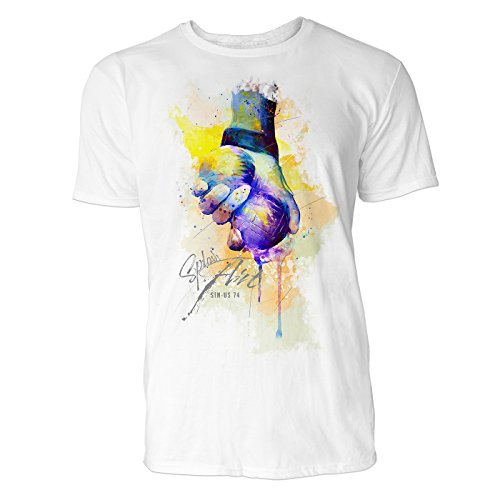 Boule Sinus Art ® Herren T Shirt ( Weiss ) Crewneck Tee with Frontartwork