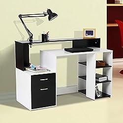 Mesa de Ordenador PC 140x55x92cm Despacho Escritorio Oficina Estanteria Madera 2 Colores (Negro+Blanco)