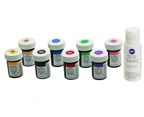 Wilton Lebensmittelfarben im Superset 8er Set plus Weiß (8 x 28g + 59ml)