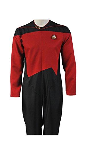 Elecos Star Trek TNG Cosplay Captain Jumpsuit Uniform Herren Rot XXXL