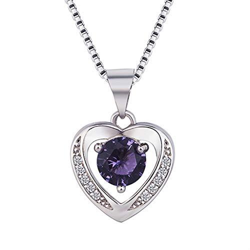 UINGKID Damen Halskette Anhänger SchmuckFrauen natürliche Amethyst herzförmige Silber Halskette Schlüsselbein Kette Topas Anhänger