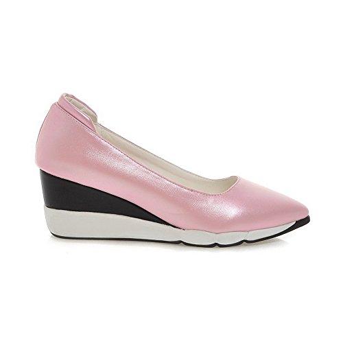 AgooLar Damen Ziehen auf Hoher Absatz PU Rein Hoch-Spitze Stiefel, Pink, 38