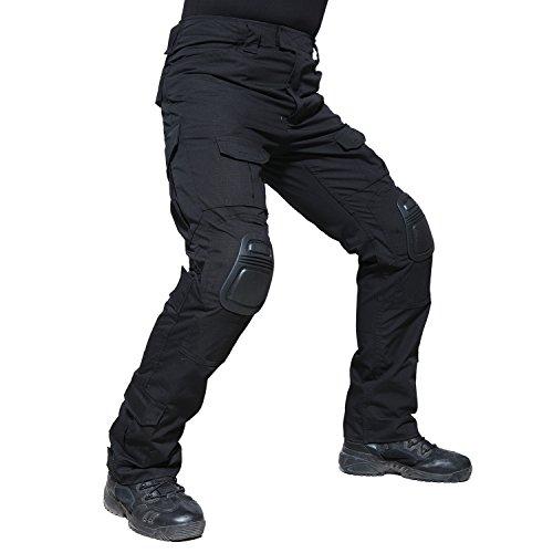 TACVASEN Hombres Negro Militar Pantalones Ripstop...