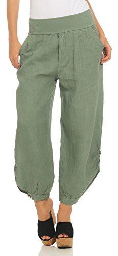282 Damen Leinenhose lockere Freizeithose Lange 100% Leinen Hose Uni Stoffhose Elegante Haremshose mit Knöpfen einfarbig Oliv XL