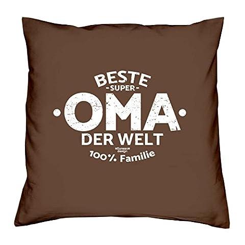 Deko Kissen mit Füllung :-: Größe: 40x40 cm :-: Beste Oma der Welt :-: Geschenkidee Großmutter Geburtstagsgeschenk Farbe: braun
