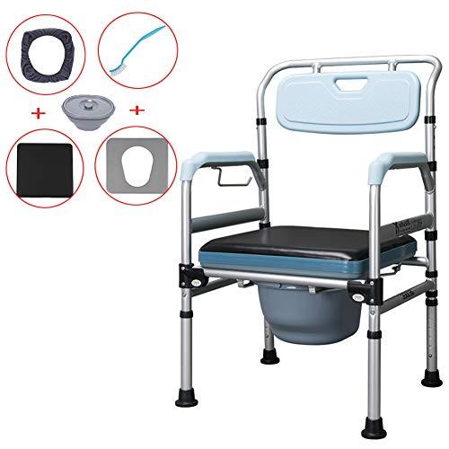 Medizinischer Transport Wc Rollstuhl - Toilettenstuhl, 4 in 1 Faltbar - Tragbar, Schwere Aluminiumlegierung Eingesetzt Werden Kann Pedal, Multifunktions-duschstuhl